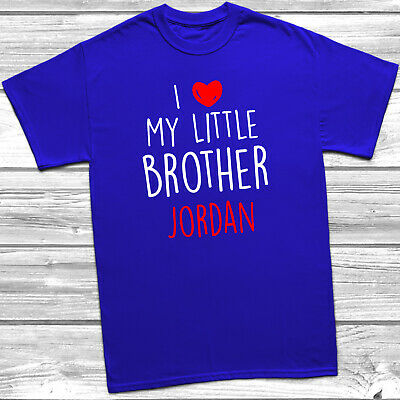 Personalised I Love My Little Brother T-Shirt Kids Childrens Tee Top Girls Boys