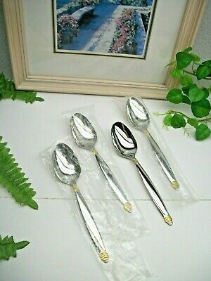 4   NOS  Oneida  Gold Accent    DAPHNE   18/10  Stainless Steel  Teaspoons  NEW