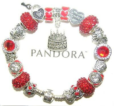 Authentic Pandora 925 Silver Bracelet with BIRTHDAY, LOVE, RED European Charms