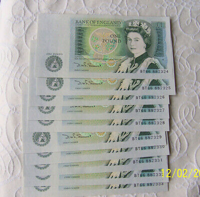 10 consecutive UNC Somerset £1 notes