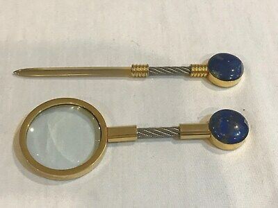 Desk Set Magnifying Glass, Letter Opener brass cable lapis stone.