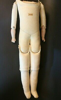 Antique German Kid Leather Doll Body Bisque Hands Paper Label, Antique Doll Body