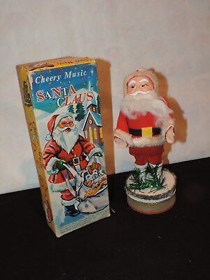 Christmas Santa Claus toy Wind-Up Vintage made Japan WORKS (h888)