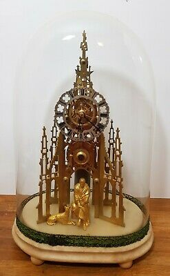 Antique Sir Walter Scott Monument Skeleton Clock, With Glass Dome, 51Cm High