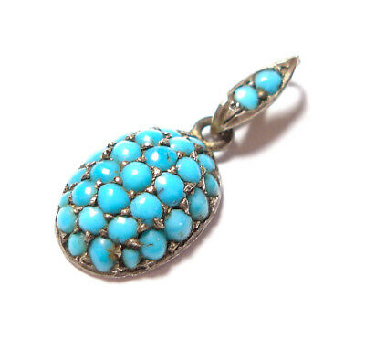 Beautiful Small Antique Victorian Or Edwardian Silver And Turquoise Pendant