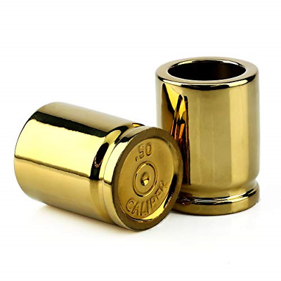 Set of 2 Shot Glasses Shaped like Bullet Casings Great Addition to the Mancave