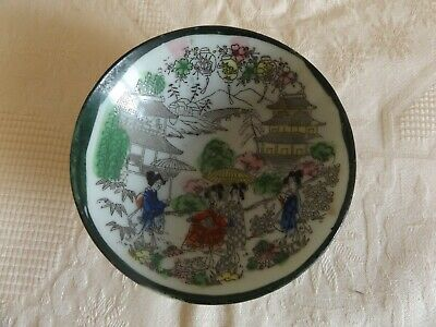 1920's ANTIQUE VINTAGE JAPANESE ORIENTAL SAKI  CUP DISH BOWL HAND-PAINTED