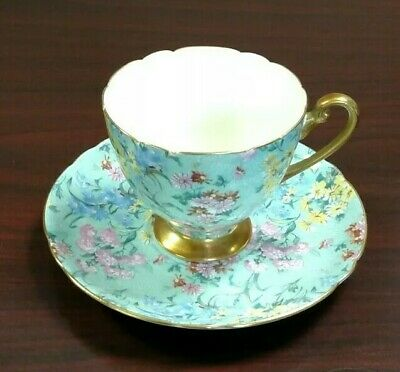 SHELLEY VINTAGE MELODY Green Chintz Gold Trim Teacup and Saucer