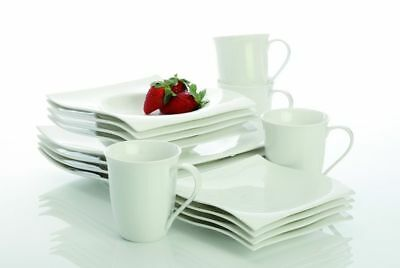 Maxwell Williams White Basic Motion NEW Without Box SALAD & DINNER PLATES 8 Pc