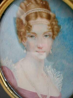 Antique Continental Late 19th Century Portrait Miniature Painting of a Lady.