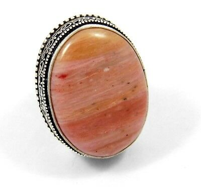 Stunning Pink Calcite Stone Silver Plated Ring Bohemian Fashion JC3308