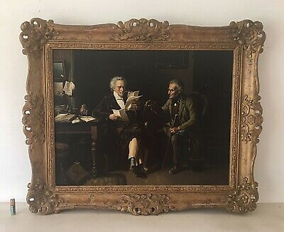 Antique Oil Painting His Legal Advisor Rococo Frame After Vautier (1829-1898)