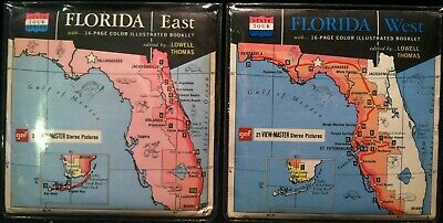 Vintage View-Master Reels Sets ~ Florida East & West Lot ~ State Tours Series