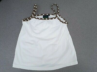Mini Boden Girls Age 9 10 White Brown Polka Dot Strappy Vest Top Holiday Wear