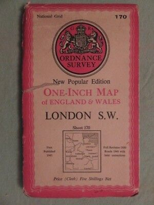 """Antique O/S 1""""/mile map Great Britain LONDON S.W. (1947) sheet 170"""