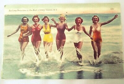 Coney Island New York Vintage Postcard Bathing Beauties in the Surf 1944 Used