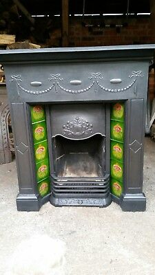 Original Edwardian  Cast Iron Tiled Combination  Fireplace