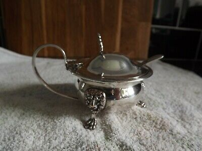 Silver Plated Mustard Pot + Blue Glass Liner & Spoon.