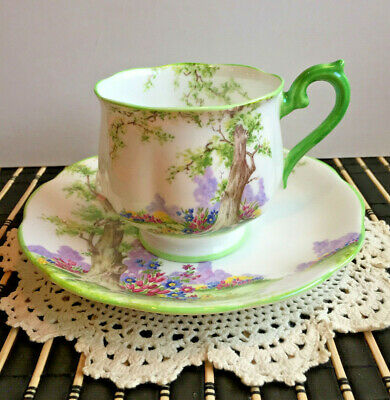 Royal Albert Crown China Greenwood Tree Cup & Saucer Hampton Shape 1930's Pretty