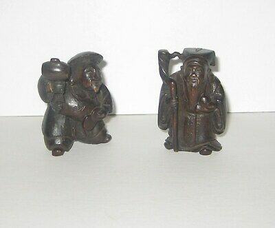 2 Vintage Old Asian Chinese Immortals Carved Wood Figurines With Peach And Coins