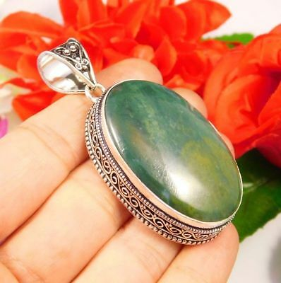 Amazing .925 Silver Plated Green Jade Stone Pendant Gift JC3594