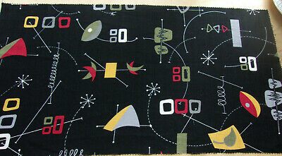 Vintage mid century modern abstract barkcloth cotton fabric remnant!