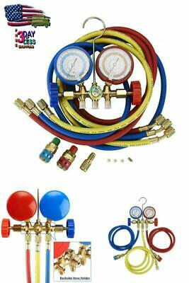 R12 R22 R134a R502 Manifold Gauge Set HVAC A/C Refrigeration Charging Kit 5FT