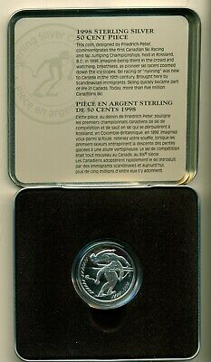 1998 Canada 50¢ Sterling Silver Commemorative First Canada Ski Racing & Jumping
