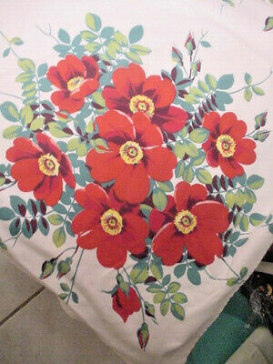 Vintage Cotton Red Wild Rose Flower Wilendur Tablecloth Table Topper