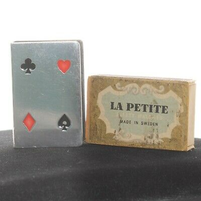 1950's Vintage Tiffany Co Sterling Silver Playing Cards Match Box Heart Diamond