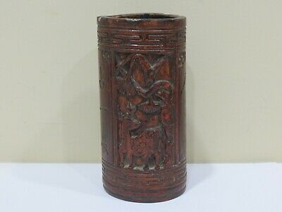 Antique Hand Carved Chinese Bamboo Brush Pot