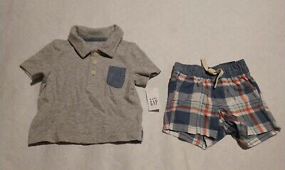 NWT Baby Gap Polo Shirt Plaid Shorts Outfit 3-6 Months Baby Boy