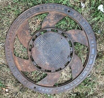 Ornate Antique ADAMS CO 1897 Round Cast Iron Floor Grate Register Vent 15.75""