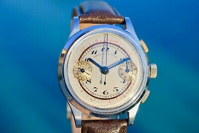 VINTAGE 1930s ABERCROMBIE&FITCH CHRONOGRAPH RARE WATCH SERVICED ANGELUS 210 CAL.