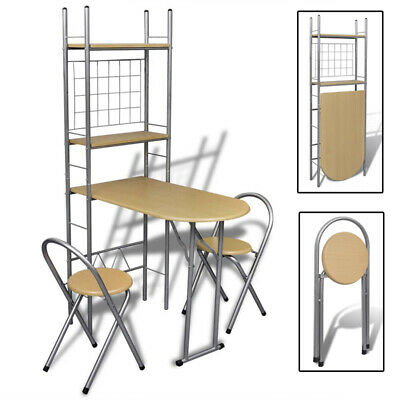 Foldable Kitchen Dining Table Set 2 Chairs Shelves Breakfast Bar Folding Stand
