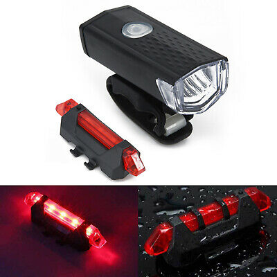 Bike Bicycle Lights USB Rechargeable Cycle Front&Back Headlight Waterproof Lot