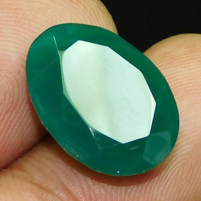 Dyed  Faceted Beryl Emerald Wonderful  Loose Gemstone  13 ct 19x15mm F354