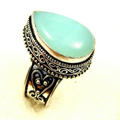 Charming Chalcedony Silver Carving Jewelry Ring Size 7.50 JC4618
