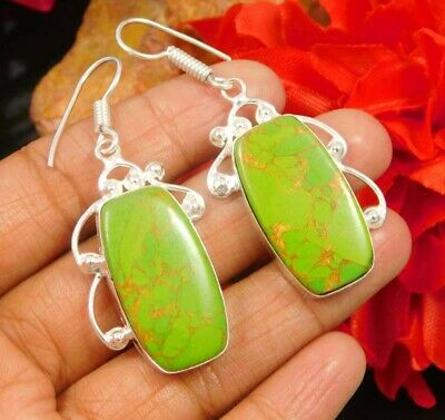 Green Copper Turquoise  .925 Silver Plated Handmade Earring Jewelry JC936