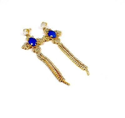 Cubic Zirconia & Chalcedony Gold Plated Handmade Earring Jewelry JC10023