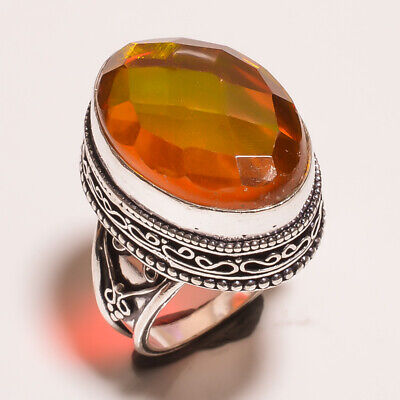 Mystic Topaz Quartz .925 Silver Plated Carving Ring Size-8.50 Jewelry JA647