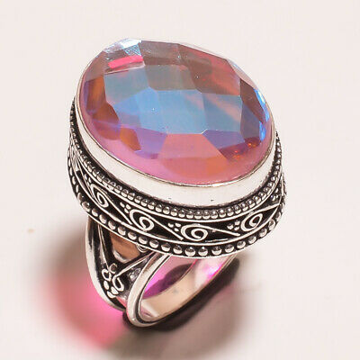Mystic Topaz Quartz .925 Silver Plated Carving Ring Size-7 Jewelry JA637