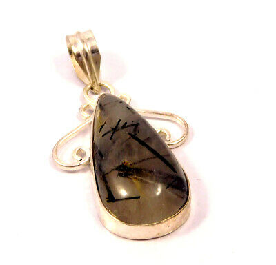 Black Needle Rutile .925 Silver Plated Handmade Pendant Jewelry JC4670