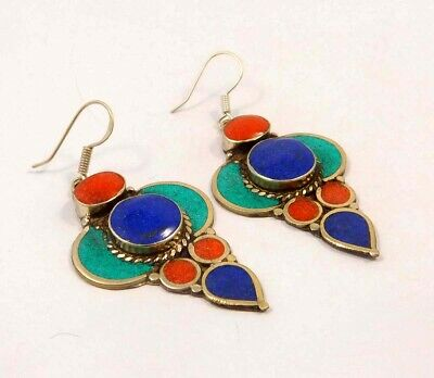 Turquoise , Lapis & Coral .925 Silver Plated Handmade Earring Jewelry JC6574