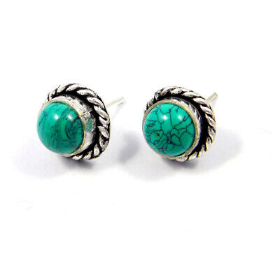Turquoise .925 Silver Plated Handmade Stud Earring Jewelry JC8095
