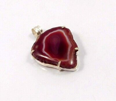Red Botswana Slice Agate .925 Silver Plated Handmade Pendant Jewelry JC6805