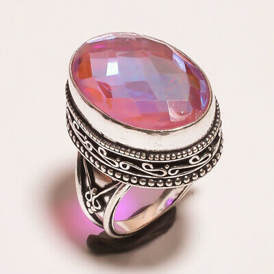 Mystic Topaz Quartz .925 Silver Plated Carving Ring Size-8 Jewelry JA646