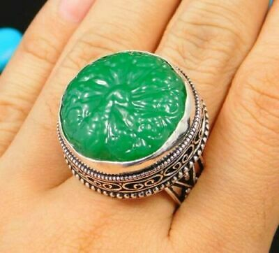 Charming Chalcedony Silver Carving Jewelry Ring Size 8.50 JC1681