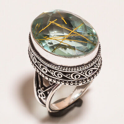 Golden Needle Rutile .925 Silver Plated Hand Carving Ring Size-7 Jewelry JA617