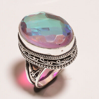 Mystic Topaz Quartz .925 Silver Plated Carving Ring Size-7.25 Jewelry JA641